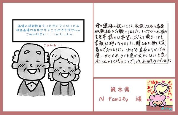 母の還暦祝い 家族12名集合似顔絵