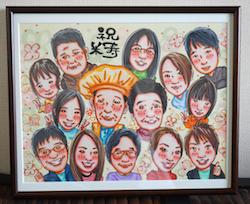 母の日に大型ボード家族全員の似顔絵を贈ろう!